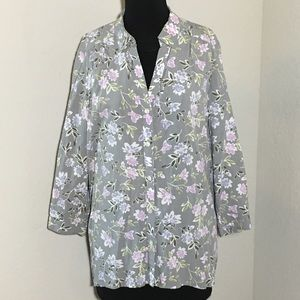 J. Jill Floral 3/4 Sleeve Button Down Blouse Gray